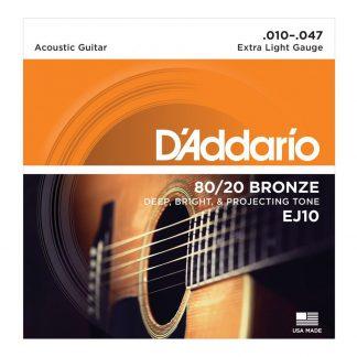 Encordado DAddario EJ10 Guitarra Electroacustica 80/20 Bronce-1829