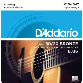 Encordado DAddario EJ36 80-20 Bronce Guitarra Acustica 12 Cu-1794