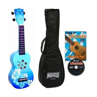 Ukelele Soprano Mahalo MD1HBBUB Designer Hibiscus Azul